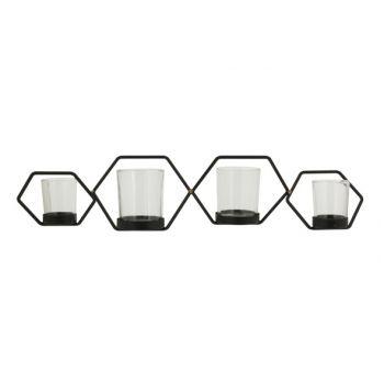 Cosy @ Home Bougeoir Hexagon 4p Noir 53,5x14xh11,5cm