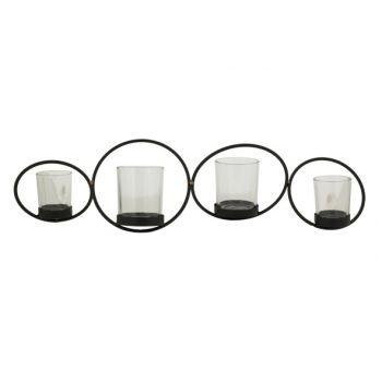 Cosy @ Home Bougeoir Circles 4p Noir 53,5x14xh13,5cm