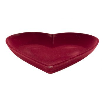 Cosy @ Home Coeur Flocked Rouge 25x25xh3,8cm Bois