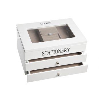 Cosy & Trendy Coffre De Bijoux Bois Blanc 3niv. 26x18x