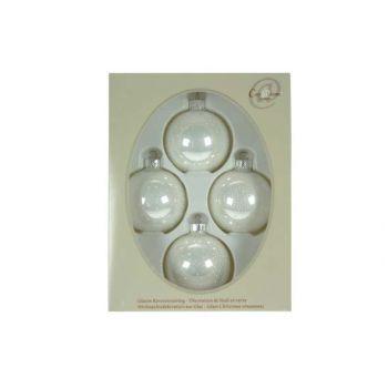 Cosy @ Home Boule Verre 4pcs 7cm Blanc Perle+points