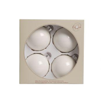 Cosy @ Home Boule Verre 4pcs 8cm Blanc De Blan Perle