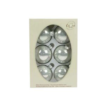 Cosy @ Home Boule Verre 6pcs 7cm Blanc Argente Perle