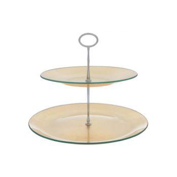 Cosy & Trendy Etagere Verre Gold 2 Niv. D25-31xh25