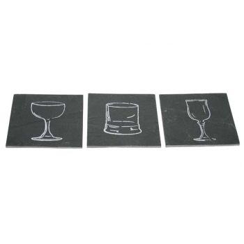 Cosy & Trendy Dessous-verre Ardoise Verres Set6
