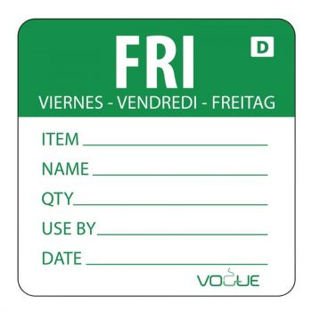 Etiquettes solubles Vogue jour de la semaine Vendredi