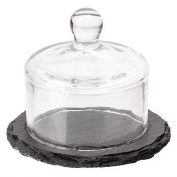 Plateau en ardoise avec cloche en verre APS