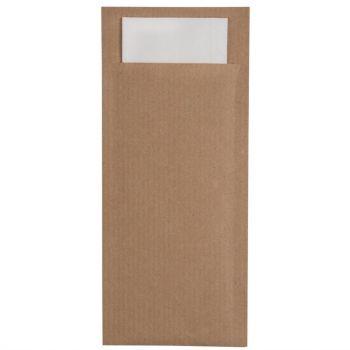 Pochettes à couverts marron avec serviette blanche Europochette
