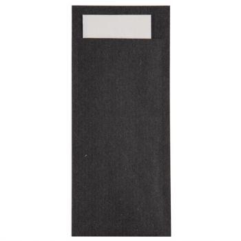 Pochettes à couverts noires avec serviette blanche Europochette