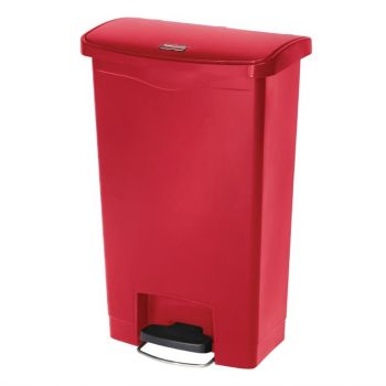Poubelle à pédale frontale Rubbermaid Slim Jim rouge 50L