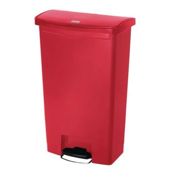 Poubelle à pédale frontale Rubbermaid Slim Jim rouge 68L