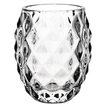 Photophore en verre transparent diamant Olympia 75mm