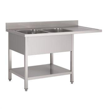 Plonge inox avec étagère basse et emplacement lave-vaisselle Gastro M 2 bacs à gauche 1600 x 700 x 850mm