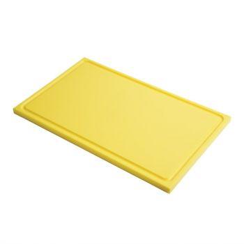 Planche à découper avec rigole GN1/1 en polyéthylène haute densité Gastro M  jaune