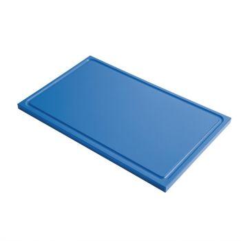 Planche à découper avec rigole GN1/1 en polyéthylène haute densité Gastro M  bleue