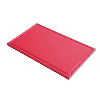 Planche à découper avec rigole GN1/1 en polyéthylène haute densité Gastro M  rouge