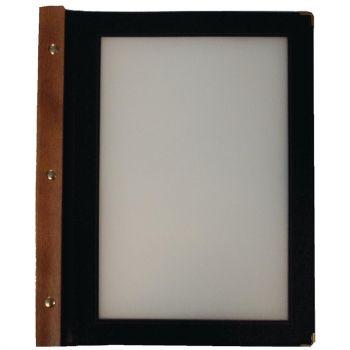 Protège-menus en bois Securit noir A4