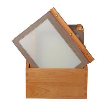Protège-menus cadre en bois Securit A4 marron