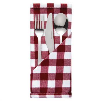 Serviettes à carreaux rouges en polyester Mitre Comfort Gingham