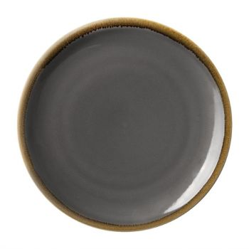 Assiettes plates rondes Olympia Kiln grises 280mm