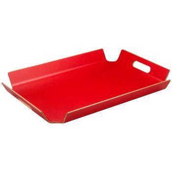 Plateau rouge à bords relevés et poignées 55x40x5cm