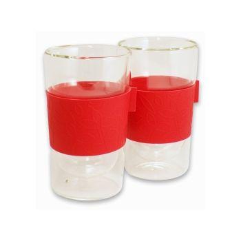 Make My Day verre à double paroi 300ml set de 2 pièces rouge