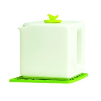 Make My Day théière cube blanche 4-Tasses avec un bouchon vert MMD-TC04-WT