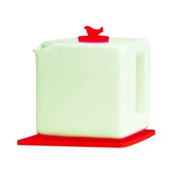 Make My Day théière cube blanche 4-Tasses avec bouchon rouge