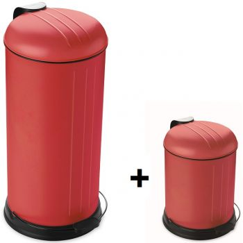 Point Virgule Promotion Rixx Poubelle 30L+ Gratuite 5L Rouge