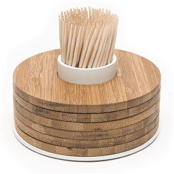 Point-Virgule dessous de verres en bambou 6 pièces sur porte-cure-dents blanc