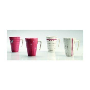 Thai Ceramic SNPL002 Moque Base Blanc AvecCoeurs Horizontale