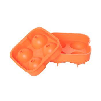 Bac a glacons boules orange 4pcs d4.5cm