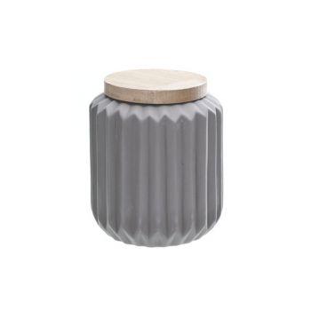 Vase a couvercle bois gris porcelain