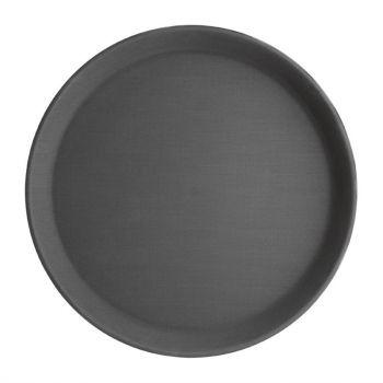 Plateau antidérapant en fibre de verre Kristallon rond noir 280mm