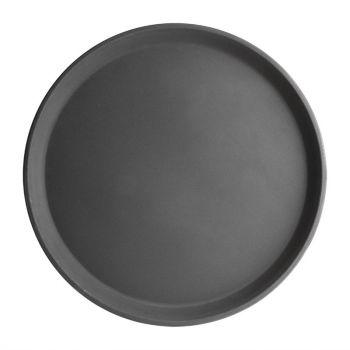 Plateau antidérapant en fibre de verre Kristallon rond noir 356mm