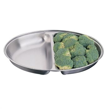 Plat à légumes ovale Olympia deux compartiments 180x252mm